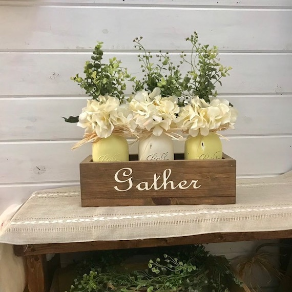Mason Jar Centerpieces, Gather Sign Wood Box, Mason Jar Greenery, 40th Birthday Gift For Women, Spring Decor Table Centerpiece