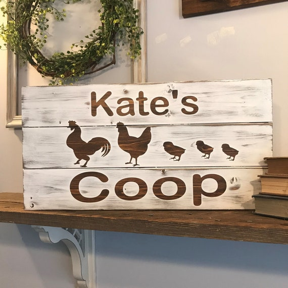 Farmhouse Wood Chicken Coop Sign, Personalized Chicken Sign, Chicken, Rustic Farmhouse Decor, Rustic Home & Living, Personalized