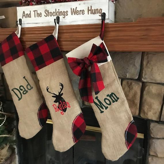 Plaid Christmas Stocking, Plaid Christmas Decor, Buffalo Plaid Stocking, Personalized Plaid Stocking, Personalized Gift for Christmas, Gift