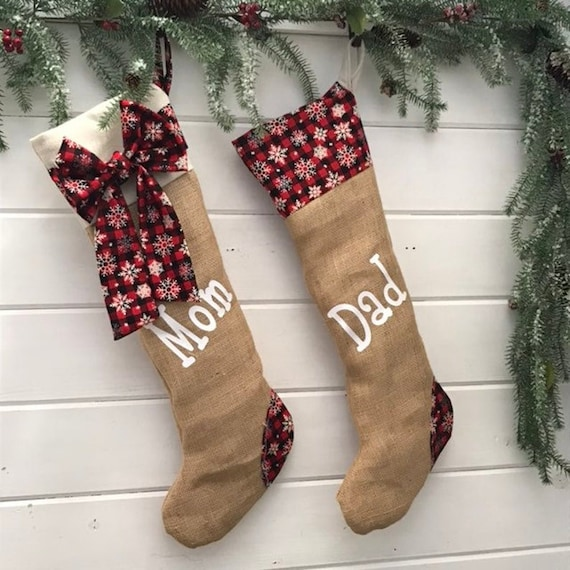 Christmas Stockings Personalized Black and Red Plaid with Snowflakes
