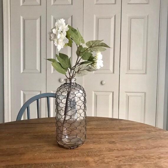 Rustic White Farmhouse Decor, Chicken Wire Glass Flower Vase, Rustic Coffee Table Decor, Country, Table Centerpiece, Farmhouse Bedroom Decor