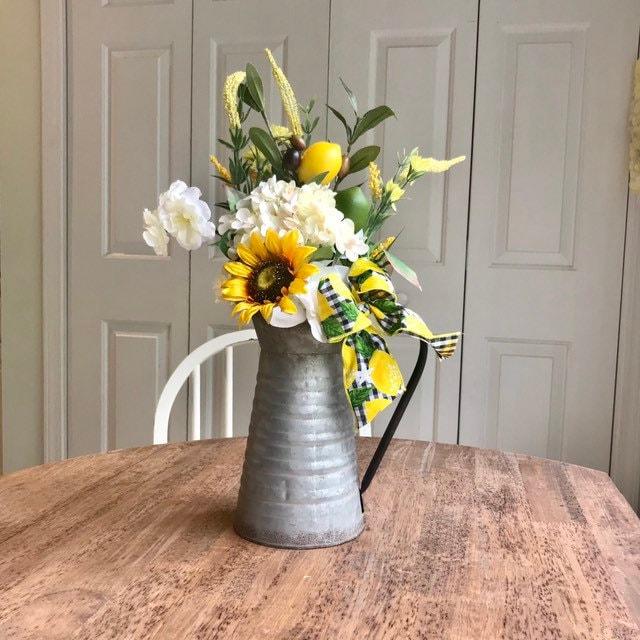Lemon Decor Flower Arrangement Rustic Centerpiece For Kitchen Table Lemon Kitchen Decor Flower Vase For Dining Room Farmhouse Kitchen