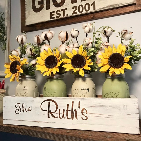 Mason Jar Sunflower Centerpiece, Mason Jar Centerpiece, Wood Box with Mason Jars, Farmhouse Table Centerpiece, Wood Box with Jars
