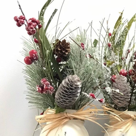 Christmas Centerpiece Pine Red Berry Bouquet For One add to your own Mason Jars or A Christmas Table Centerpiece Box