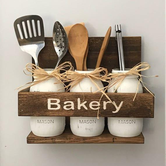 Kitchen Utensil Storage, Painted Quart Jar Utensil Holder, Farmhouse Jar Kitchen Storage, Kitchen Spoon Holder, Kitchen Decor