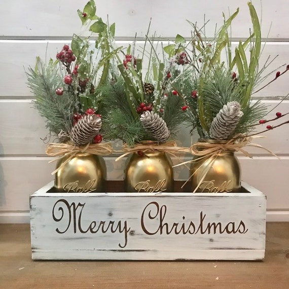 Merry Christmas Centerpiece for Christmas Table Decor Coffee table Centerpiece Christmas Entryway Decorations Personalized Christmas Gift