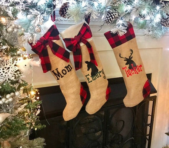 Personalized Family Stockings Set, Buffalo Check Christmas Mantel Decor, Plaid Christmas Decorations, Kids Stockings Personalized Christmas