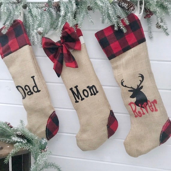 Christmas Stockings Red Plaid, Personalised Stockings for Christmas, Personalized Christmas Gifts for Family Stockings