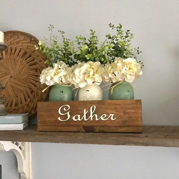 Green Farmhouse Living Room Decor, Apartment Decor, Dine Table Centerpiece, Custom Home Decor Handmade Gift, Flower Centerpiece Mason Jar