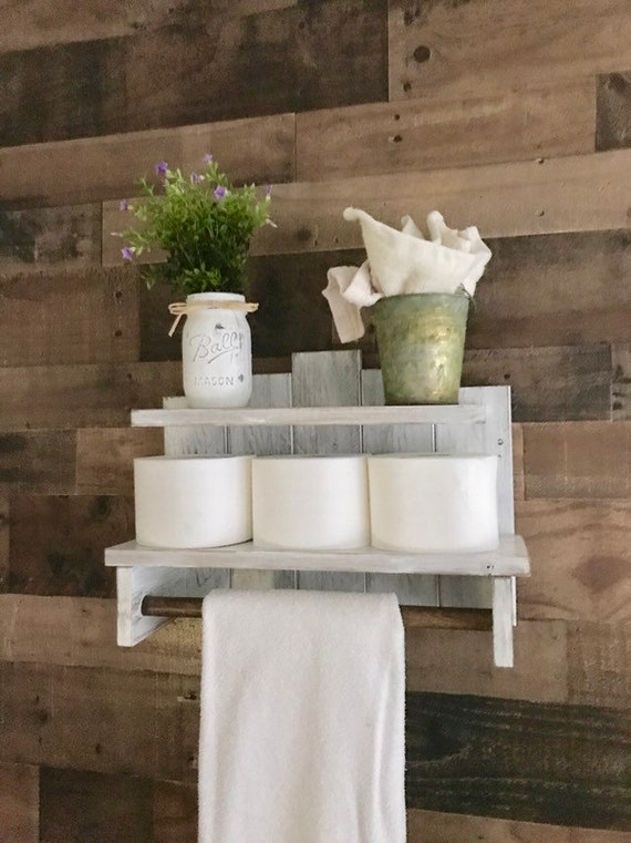 Wooden Towel Rack, Farmhouse Towel Rack, Bathroom decor, Vintage Towel Rack, Wood towel rack, Rustic wall shelf, Towel Hanger, Bath towel