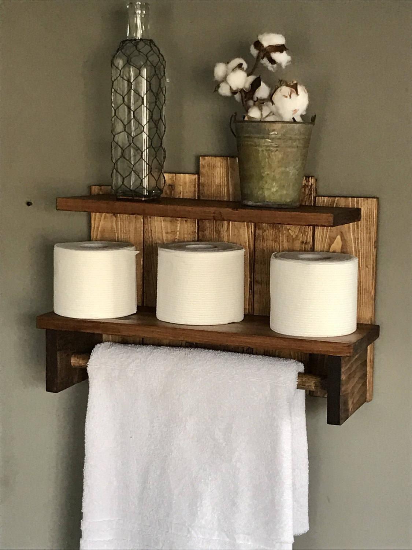 Bathroom Storage Rustic Towel Holder For Bath Toilet Paper Shelf