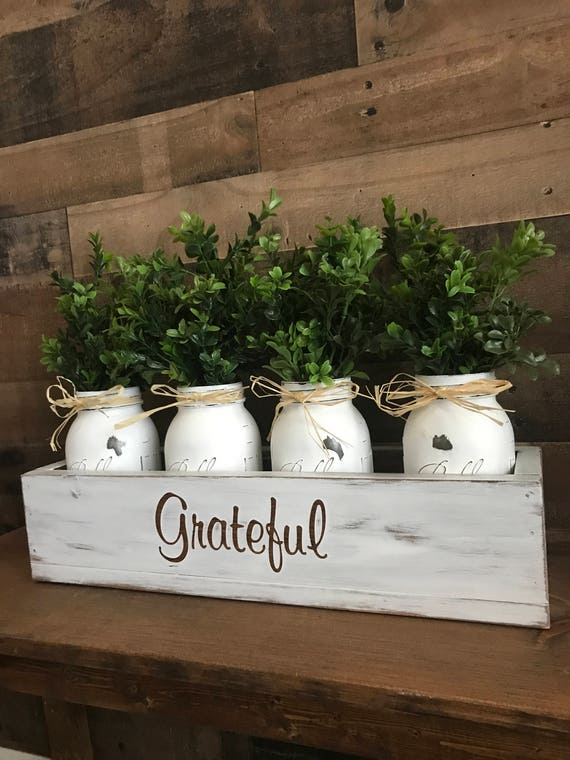 Floral Arrangement, Wood Box, Farmhouse, Grateful, Home Decor, Thankful, Floral Arrangements, Farmhouse Floral Arrangement, Mason Jar Decor
