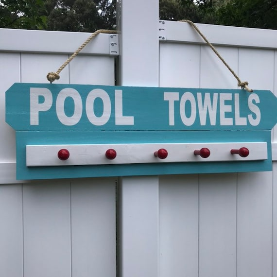 Pool Decor, Backyard Decor Personalized Sign, Outdoor Signs with Towel Holder, Custom Pool Signs, Swimming Sign