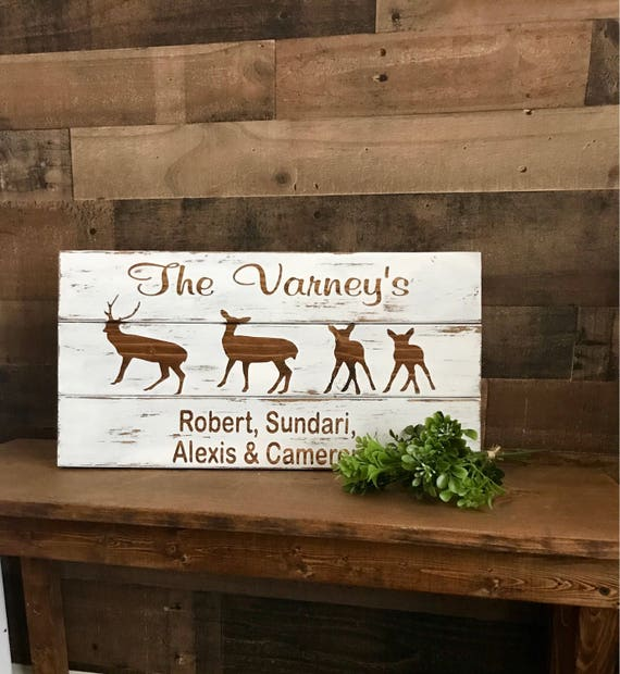 Deer, Cabin Decor, Deer Decor, Deer Hunting, Living room sign, Rustic Family Sign, Deer Farmily, Man Gift Idea, Deer Wall Decor, Rustic Sign