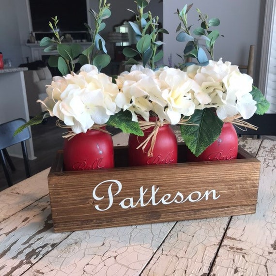 Coffee Table Artificial Flowers with Red Mason Jars, Flower Vases, Rustic Coffee Table Centerpiece, Wood Coffee Table Box