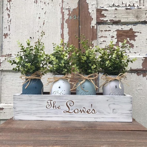 Personalized Rustic Home Decor Mason Jar Centerpiece for Farmhouse Decor Table Centerpiece Personalized Housewarming Gift
