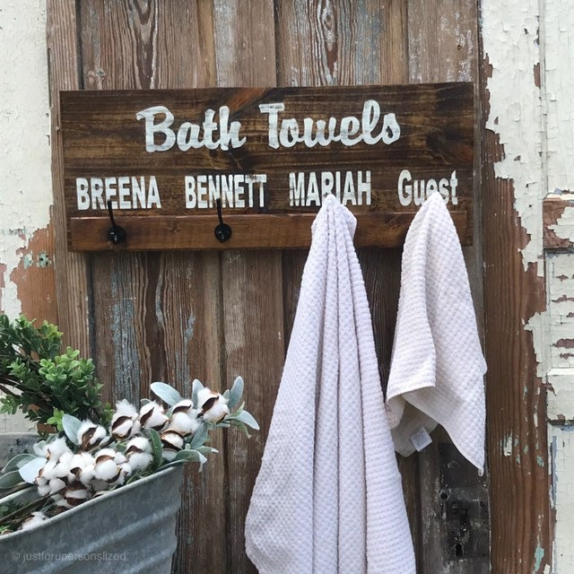 Towel Rack Rustic Decor Bathroom, Lake Bathroom Decor