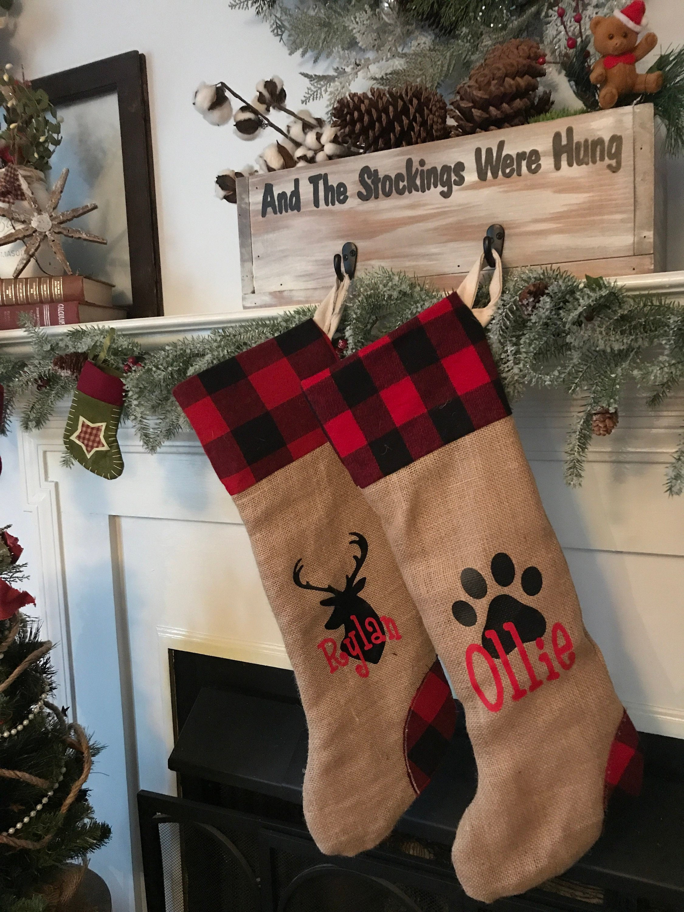 personalized christmas stockings pet christmas stockings paw christmas stocking personalised deer stockings buffalo plaid christmas