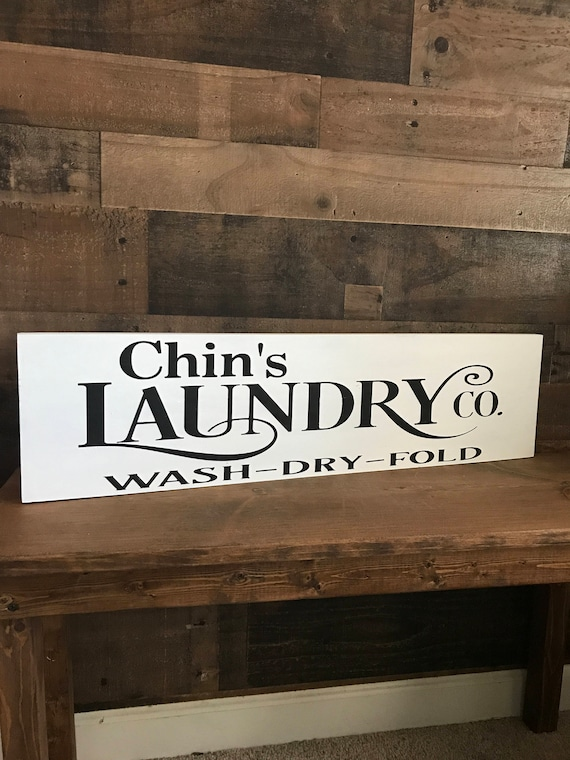Laundry Sign, Farmhouse Laundry Room Sign, Black And White Laundry Home Decor, Personalized Wood Sign, New Home Owners Gift