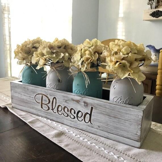 Rustic Home Decor Mason Jar Centerpiece, Rustic Centerpiece, Wedding Centerpiece Mason Jars