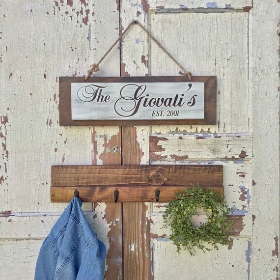 Wooden Name Sign with Coat Rack Hooks, Rustic Last Name Sign, Personalized Established Year Coat Rack, Custom Wedding Gift, Housewarming
