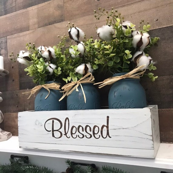 Mason Jar Centerpieces with Boxwood and Cotton Fall Decor For Home Dining Room Decor Flower Arrangement for Mom Gift