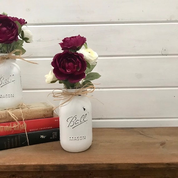 Floral Centerpiece Wedding, Rustic Wedding Decor, Jar Centerpieces, Country Rustic Centerpiece, Silk Flower Mason Jar Arrangement