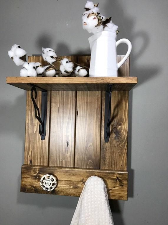 Bath towel rack, Bath towel storage, Rustic Modern decor, Bathroom rack, Rustic bathroom, Rustic decor, Industrial bathroom, Bathroom shelf