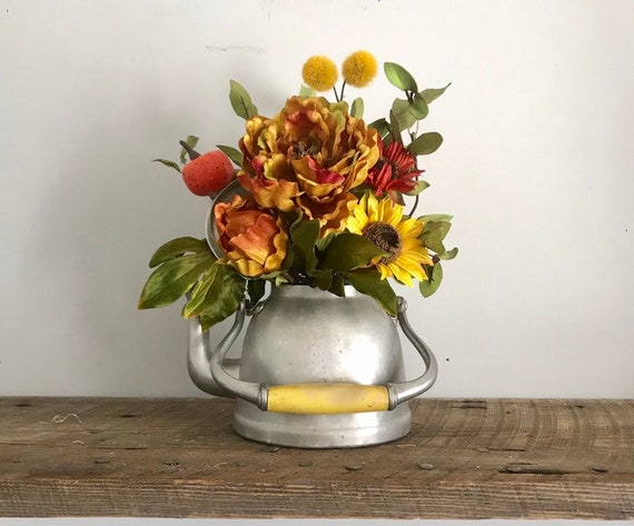 Tea Pot Kitchen Island Decor Fall Centerpiece with Pumpkin and Silk Flowers Housewarming Gift