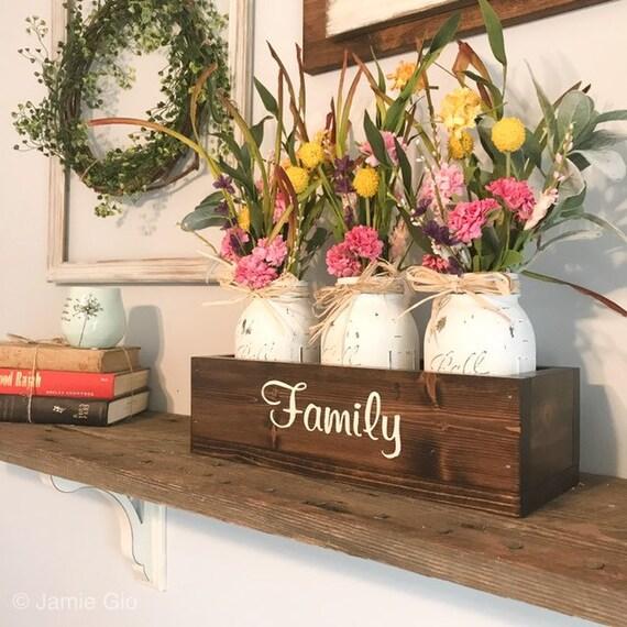 Three Mason Jars Planter Wood Box A Modern Farmhouse Decor, Country Decor Centerpiece, Table Accents