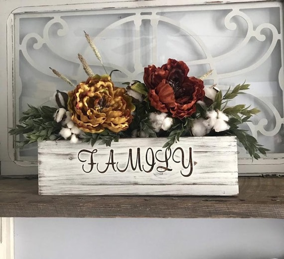 Fall Centerpiece Silk Flowers in a Wood Table Box Personalize your Fall Table Decor Fall Gift for Her