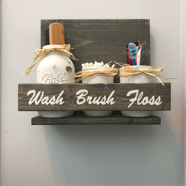 Gray Bathroom Decor Rustic Bathroom Set Mason Jar Bathroom