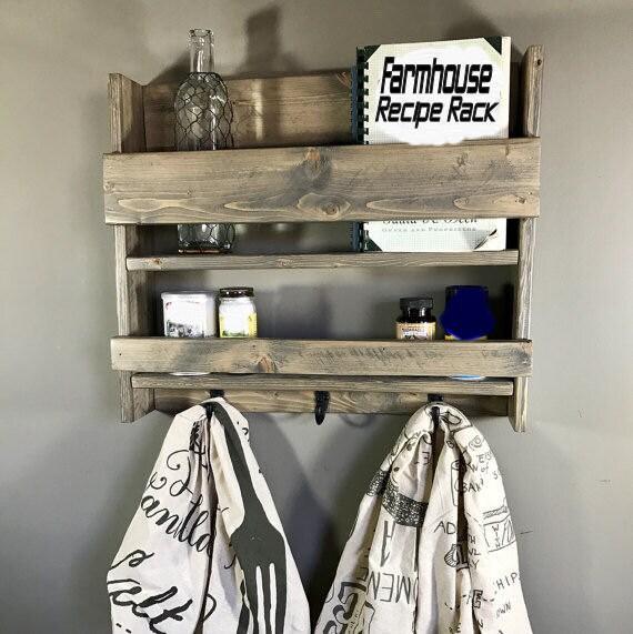 Kitchen storage, Spice Shelf, Handmade spice rack, Spice Storage, Spice Jar Holder, Wood Spice Rack, Wall Spice Rack, Rustic kitchen storage