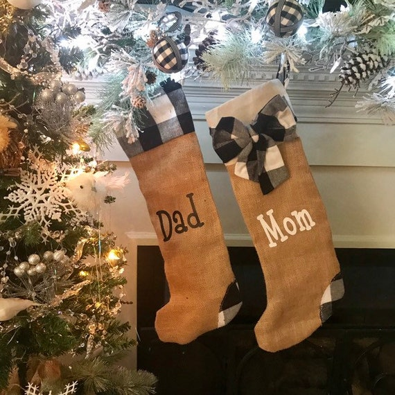 Mom and Dad Christmas Stocking Black and White Buffalo Plaid Made from Burlap Stocking Set