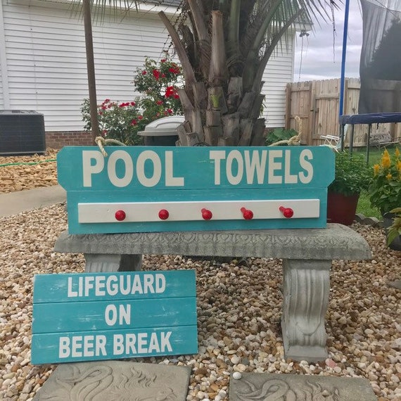 Personalized Pool Decor Sign and Beach Towel Rack, Nautical Rope Decor, Beach House Wall Decor, Name Sign For Beach house Coastal Home Decor