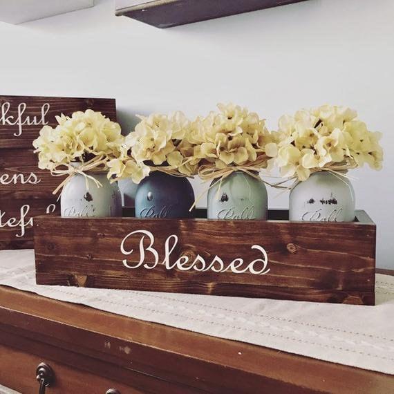 Personalized Wood Farmhouse Mason Jar Flower Box, Housewarming, Mom, Grandma Gifts