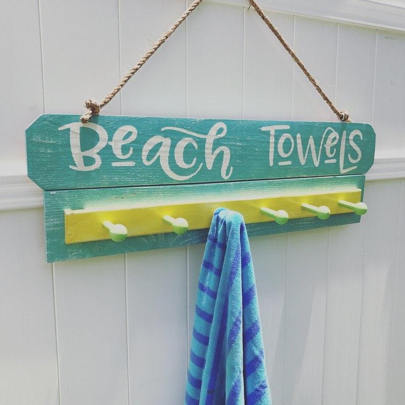 Beach Decor Beach Towel Rack, Beach Towel Hooks, Beach Towel Holder, Pool  Towel Rack, Pool Towel, Pool Towel Hooks, Pool Signs, Pool Decor