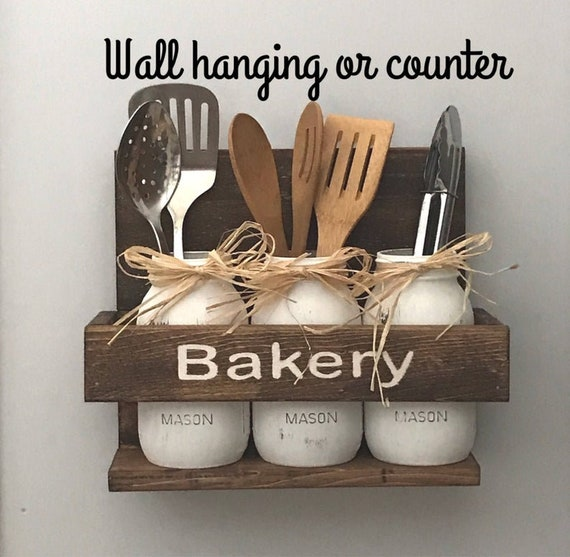 Personalized Utensil Holder with Mason Jars Farmhouse Decor Kitchen Storage or Bathroom Storage