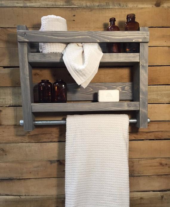Bath towel Holder, Bath towel Rack, Bathroom Decor, Bathroom Storage, Country bathroom decor, Country Home Decor, Towel Rack Shelf