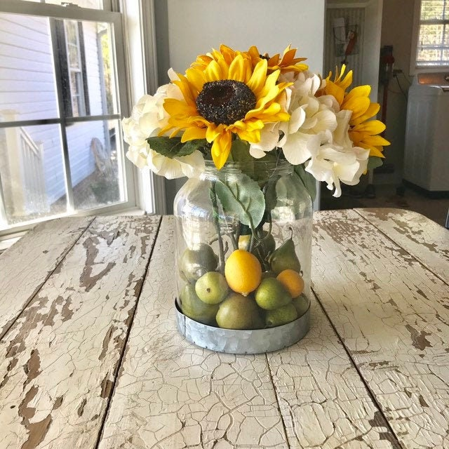 Sunflower Farmhouse Decor Rustic Kitchen Glass Jar With Lemons And Pears For A Table Arrangement Spring Or Summer