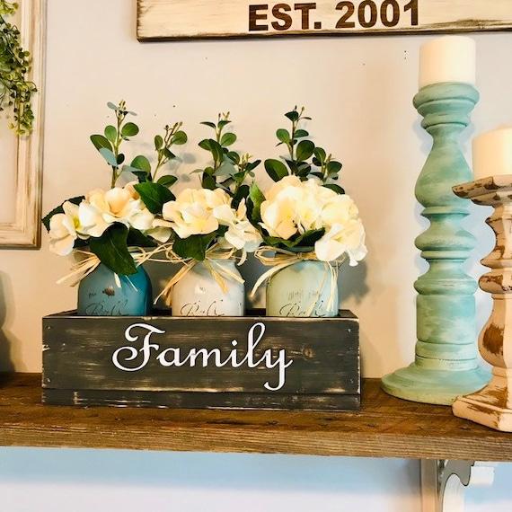 Farmhouse Sign box with Mason Jars, Fall Mantel Decor, Custom Mother Gift, Fall Home Decor, Fall Table Centerpiece, Rustic Farmhouse