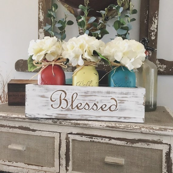 Farmhouse Living Room Rustic Home Decor for A Farmhouse Decorations with Mason Jars, Anniversary Gift Couples, Entryway Table Decor