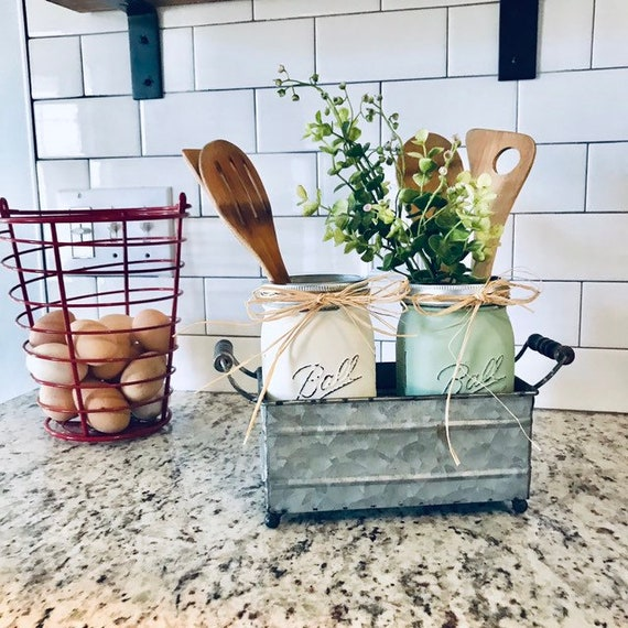 Mason Jar Set Utensil Holder, Kitchen Organization, Rustic Kitchen Decor, Mason Jar Kitchen Decor, Farmhouse Utensil Holder, Country