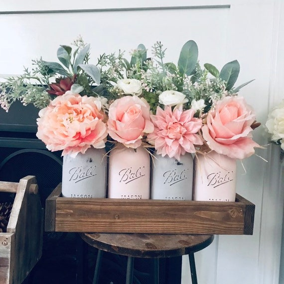 Farmhouse Decor Succulent Arrangement with Flowers Variety of Mason Jar Colors Shop Now