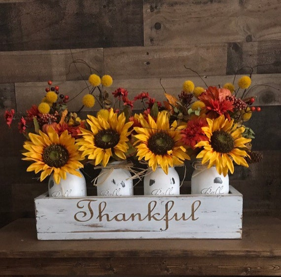 Country Fall Decor, Rustic Fall Decor, Fall Decor, Fall Decor Flowers, Farmhouse Fall Decor, Living Room Decor, Mason Jar Fall Flowers