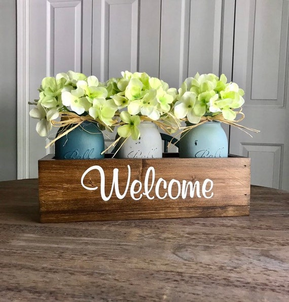 Farmhouse Mason Jar Centerpiece, Rustic Planter Box Centerpiece, Welcome Home Decor, Floral Centerpiece, Home Decor Gift, Mothers Day Gift