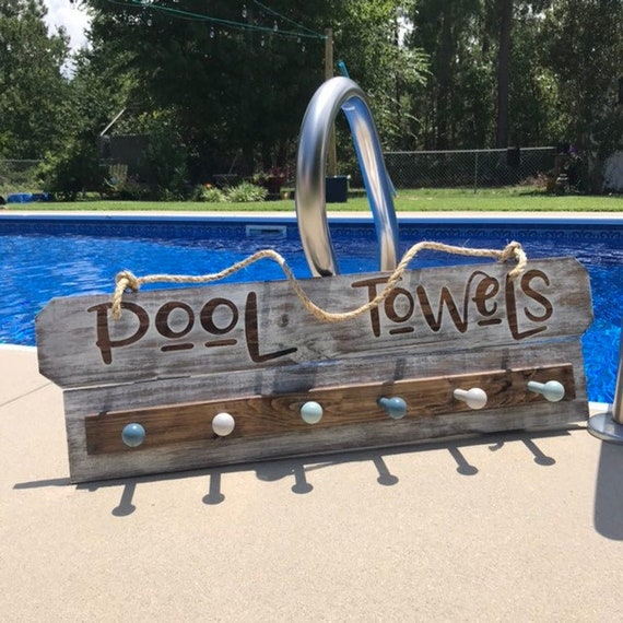 Pool Towel Rack Sign decor Ready to Ship, Pool Sign with Beach Towel Holder, Rustic Pool Sign, Swimming Pool Decorations for Towel Storage