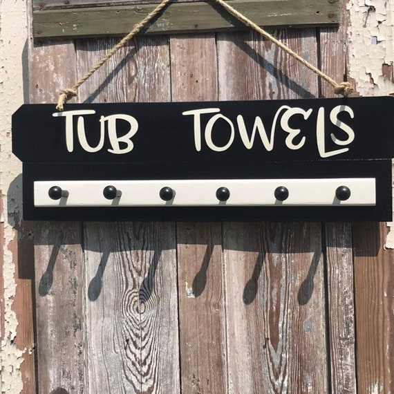 Bathroom sign with Towel Rack, Towel Hooks, Personalized Bath Sign, Bathroom Wall Decor, New Home Gift