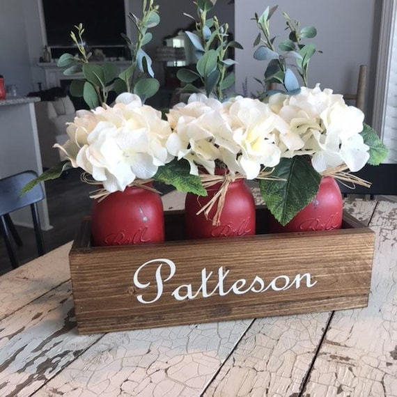 Valentines Day Flower Arrangement, Personalized Gift For Mom, Farmhouse Planter Box, Custom Family Name Gift, Personalized Wedding Gift