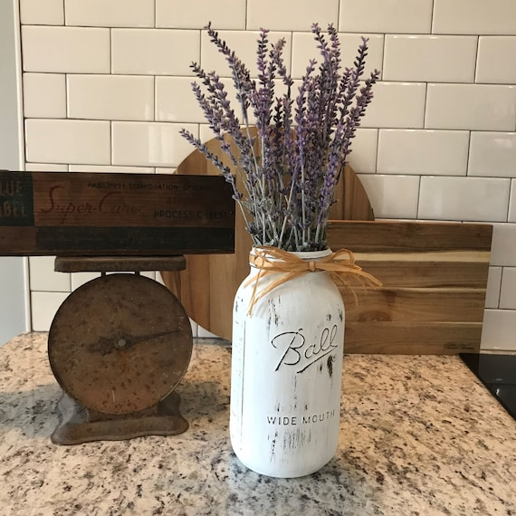 Kitchen Island, Kitchen Decor, Mason Jar Decor, Kitchen Centerpiece, Mason Jar Kitchen, Newlywed Gift, Couple Gift Idea